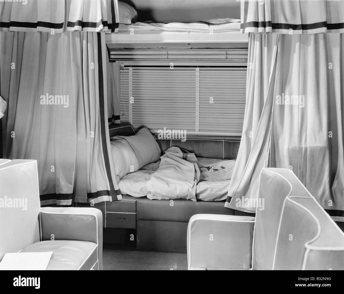 Sleeping compartment on train - Stock Image