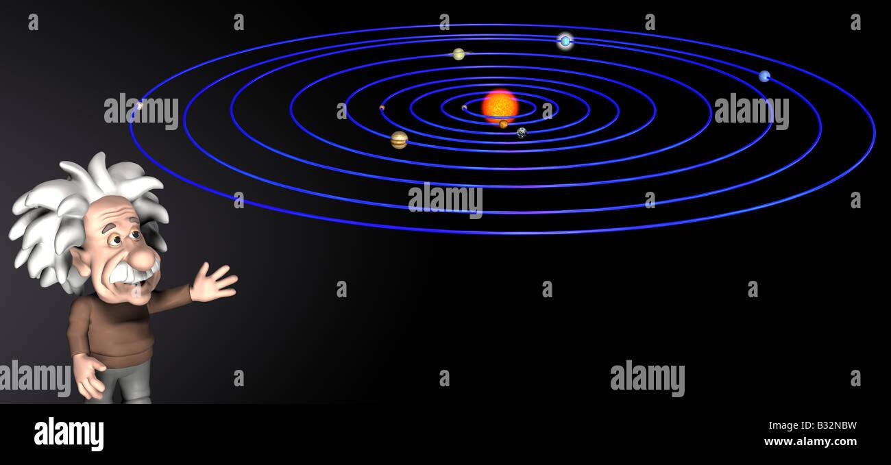Albert Einstein  with solar system - Stock Image