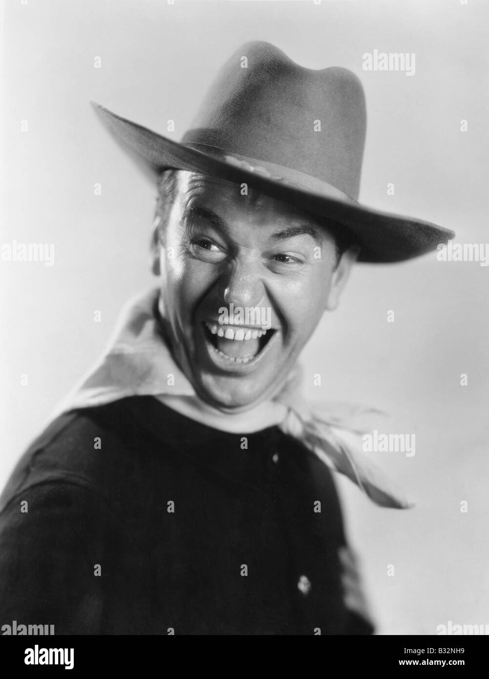Enthusiastic cowboy - Stock Image