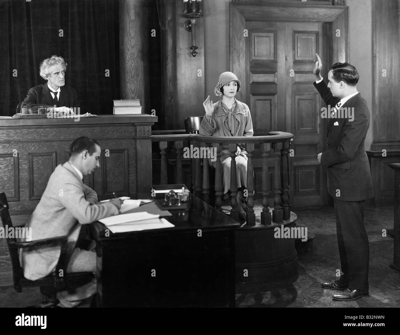 Lawyer Courtroom Case Stock Photos Andrew Smith Red Denim Merah 32 Swearing In Witness Image