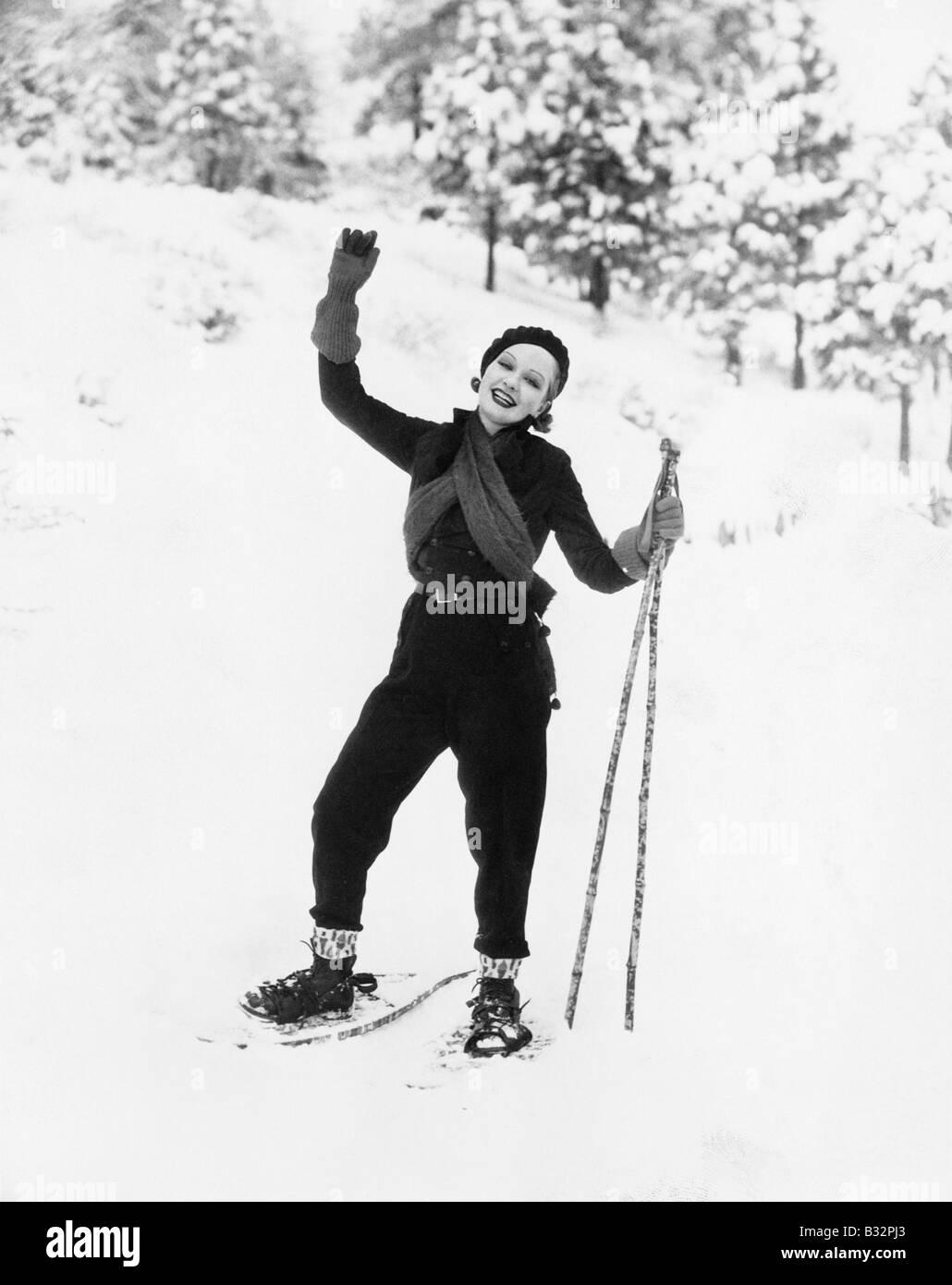 Portrait of female snowshoer - Stock Image