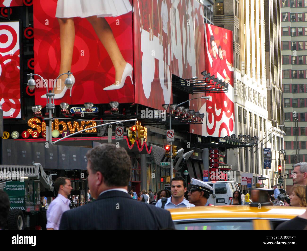 NY ad street scene - Stock Image
