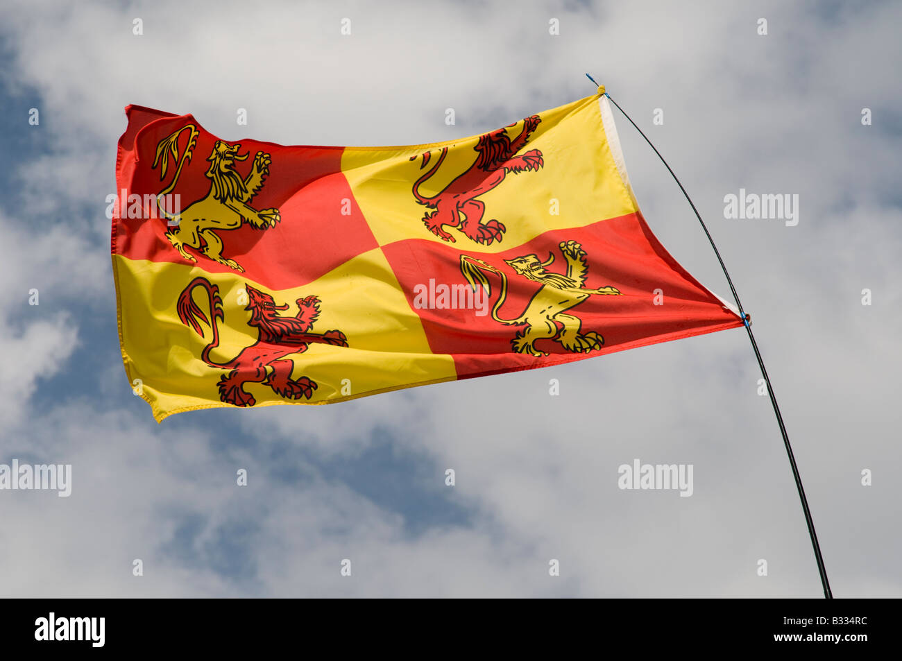 Old welsh flag emblem of Owain Glyndwr flying at National Eisteddfod of Wales Cardiff August 2008 - Stock Image