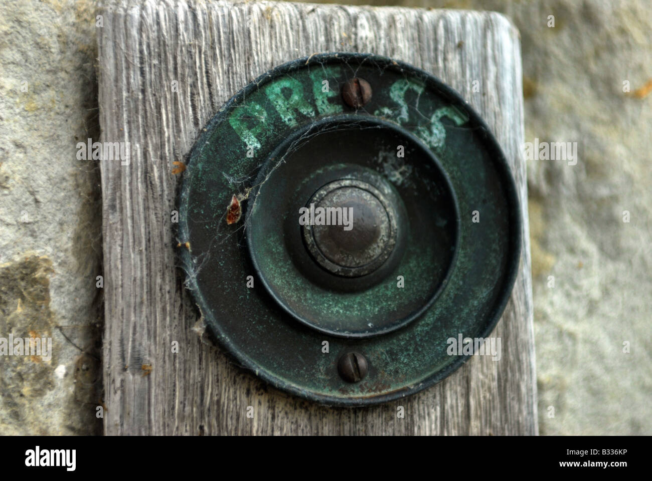Merveilleux An Old Fashioned Door Bell With The Work Press Written On It   Stock Image