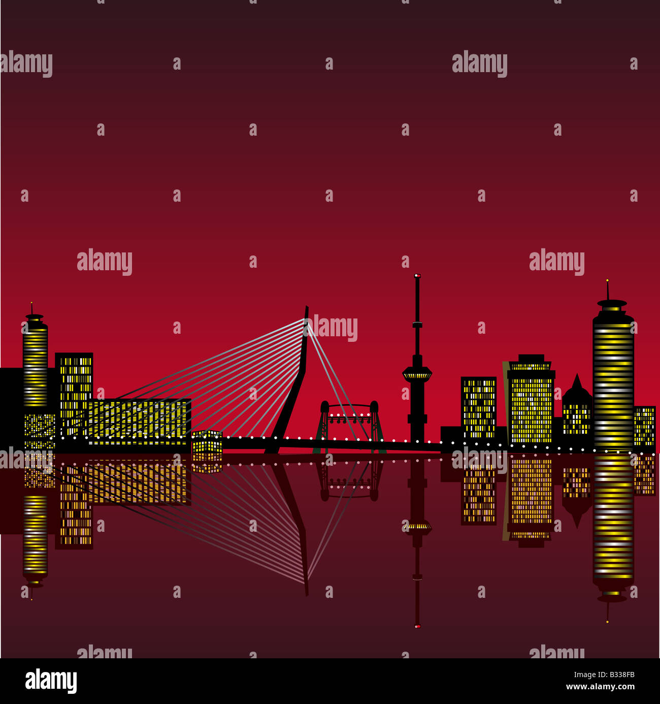 Abstract vector illustration of the skyline of Rotterdam with reflection in the water Stock Photo