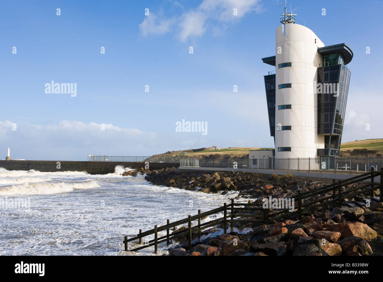 The Marine Operations Centre (opened in 2006) at Aberdeen Harbour, Aberdeenshire, Scotland - Stock Image