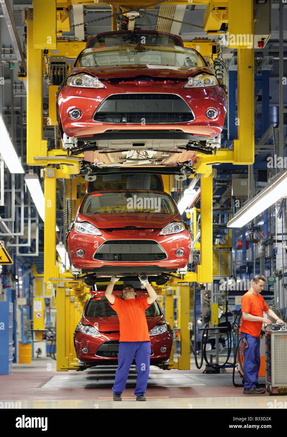 Germany, Cologne, 04.08.2008: Ford Germany, Ford Fiesta Production on the assembly line - Stock Image