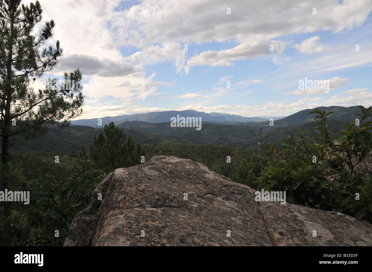 Typical view of the scenery of the Cévennes region of France. This is the view from neat to the Chapell St - Stock Image