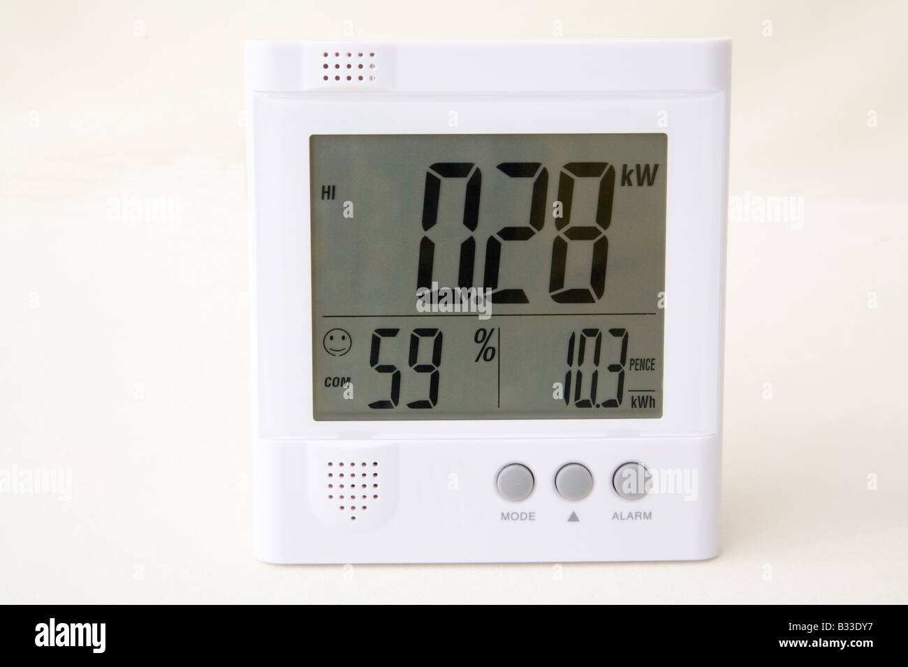 Close up Studio Wireless energy monitor showing kilowatts of electricity being used humidity and price of power Stock Photo