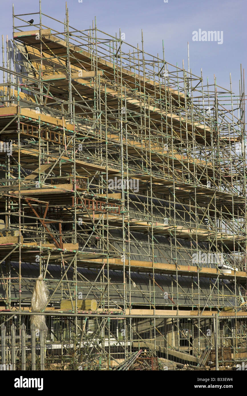 Scaffolding on a U.K. construction site - Stock Image