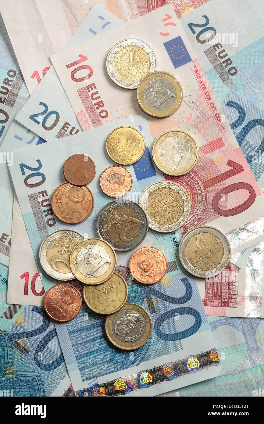 Euros in Euro coins and Euro notes. - Stock Image