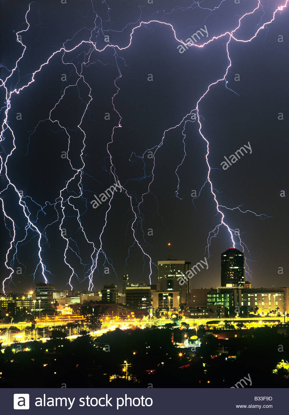 lightning storm thunderstorm over downtown tucson arizona usa with