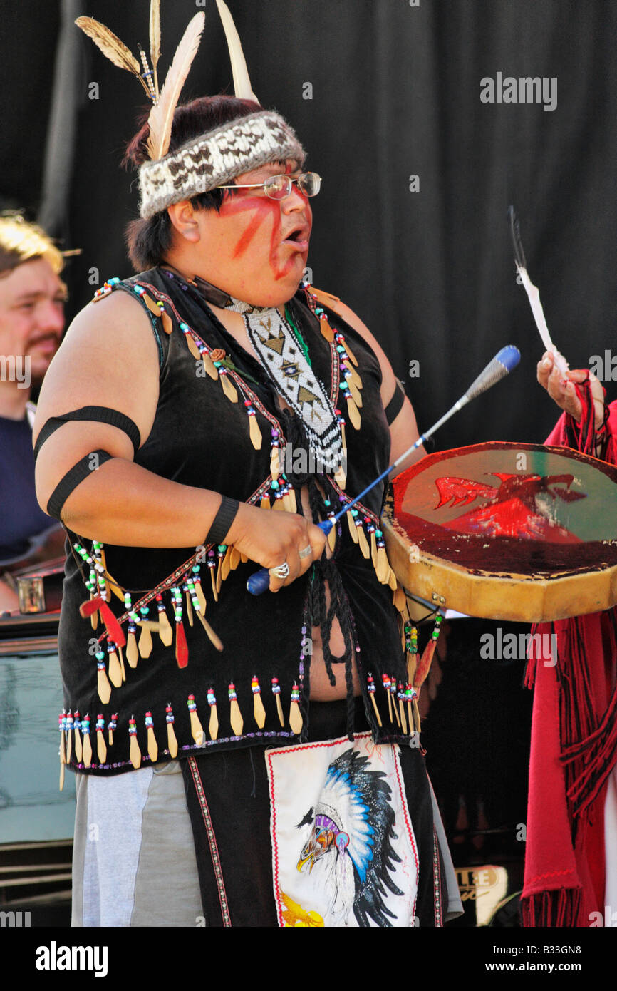 First nations ceremonial dance during BC 150 year celebration Victoria B C Canada - Stock Image