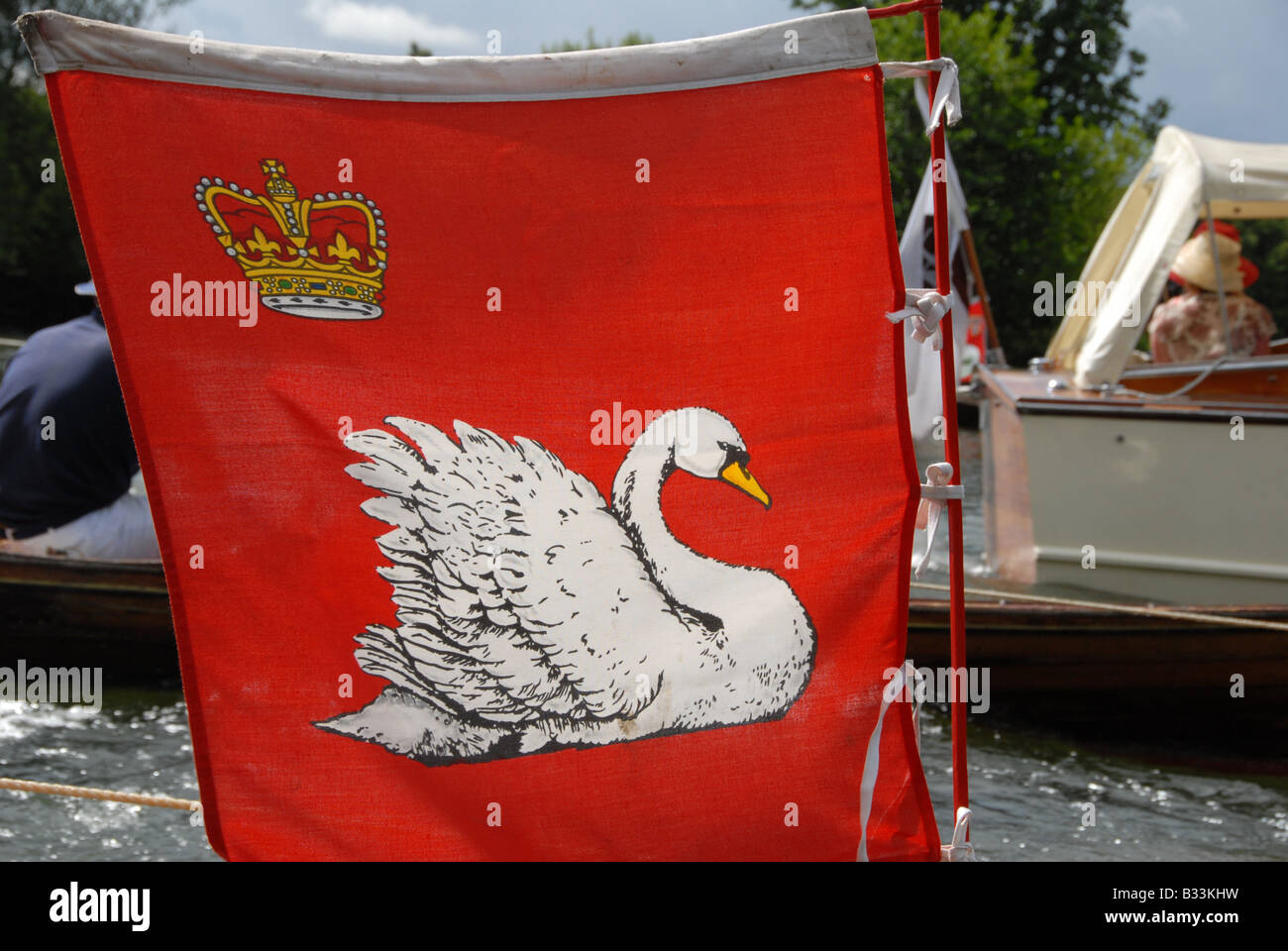 The flag attached to the Queen Marker's skiff flown during the Swan Upping on the River Thames - Stock Image
