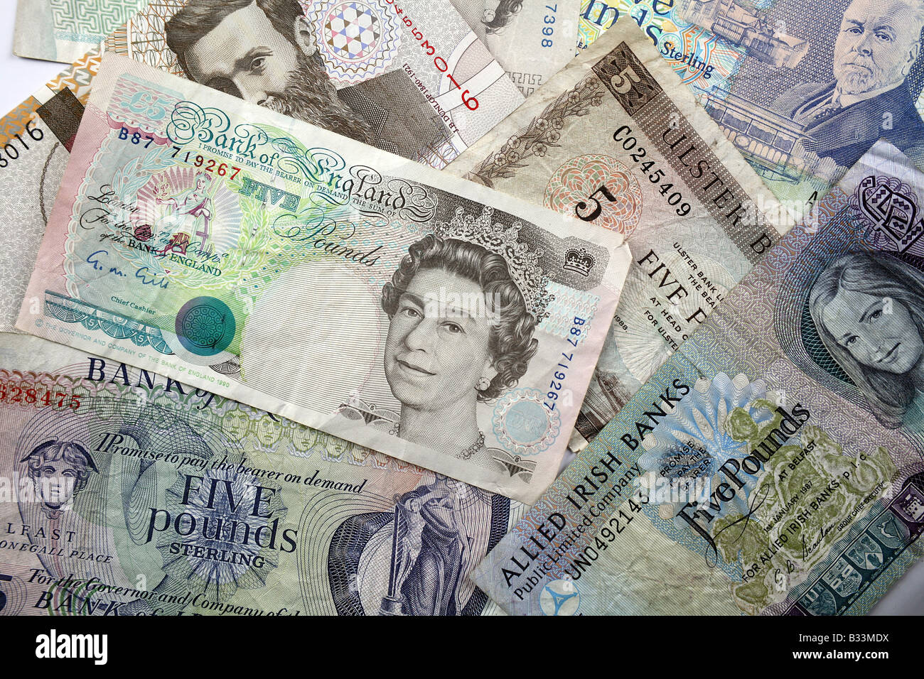 Northern Irish Sterling and United Kingdom Bank notes Stock Photo