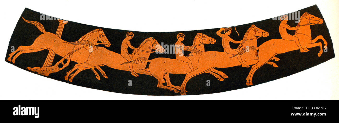Greek Riders on Red-figure vase - Stock Image