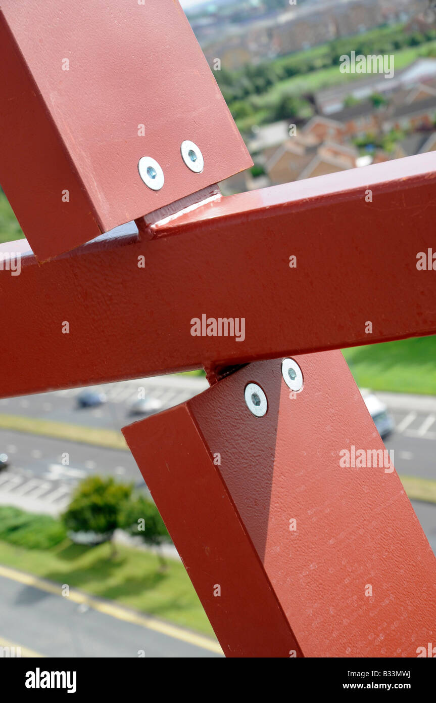Steelwork on UK construction site - Stock Image