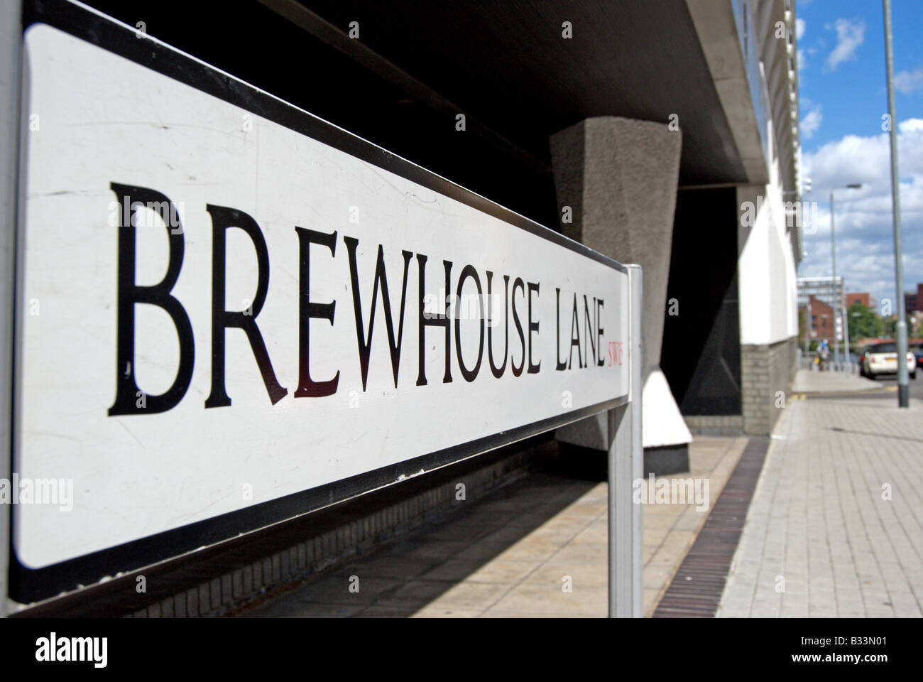 black and white street sign for brewhouse lane, in putney, southwest london, england - Stock Image