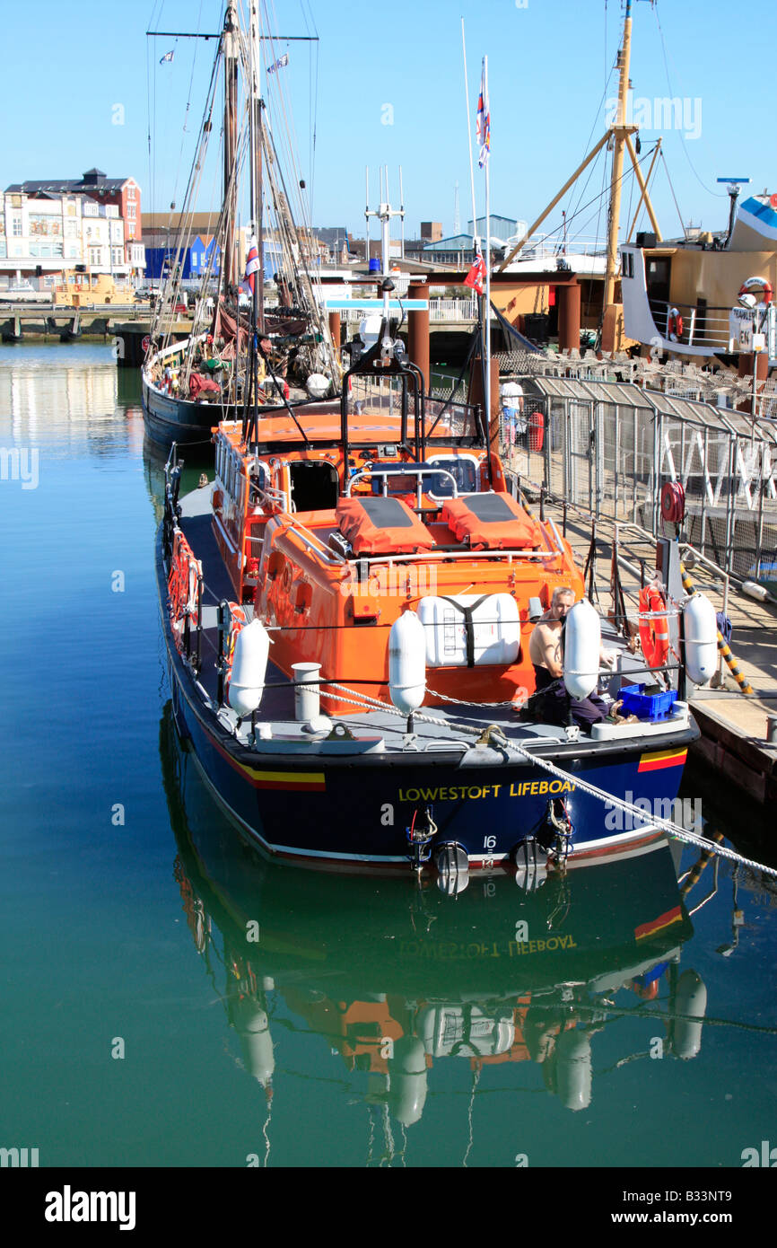 lifeboat berthed Lowestoft Haven Marina  Associated  British Ports East Anglia england uk gb - Stock Image