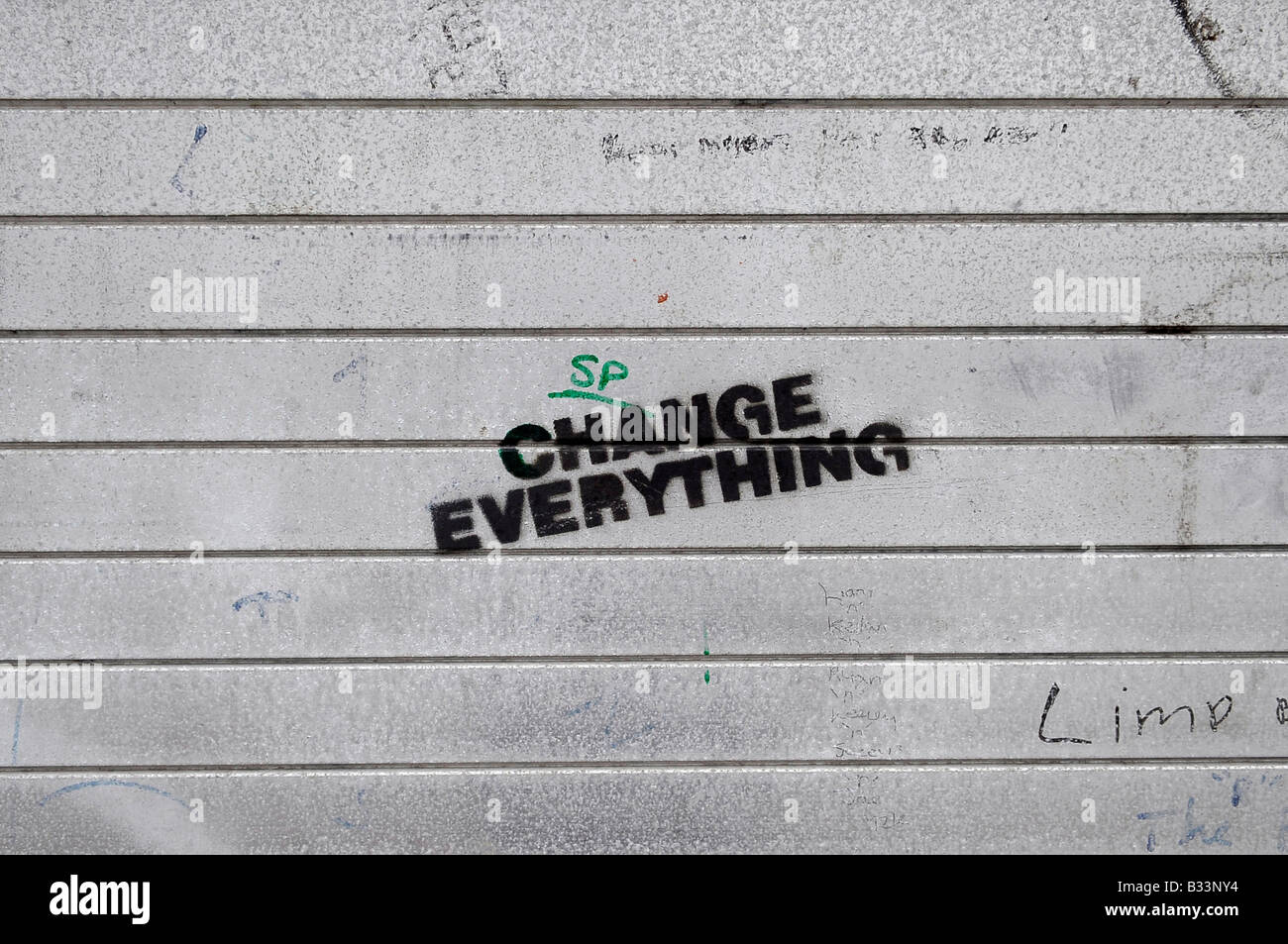 Composite Image Of Stencil Graffiti >> Change Everything Stencil Graffiti Shutters Permanent Revolution