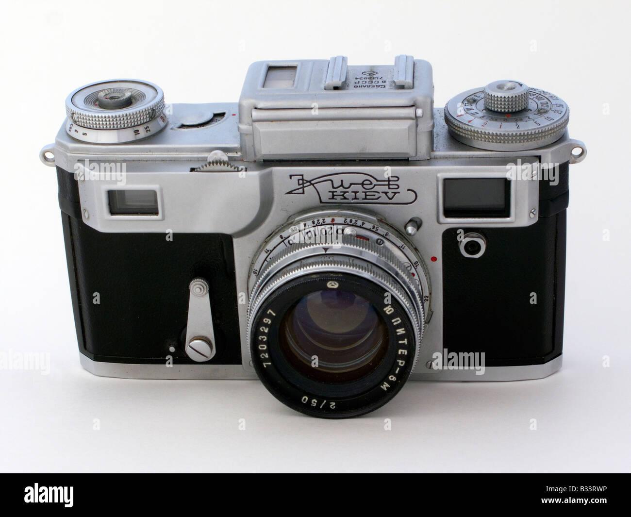Dusted old Kiev 4 soviet era 35 mm film camera - Stock Image