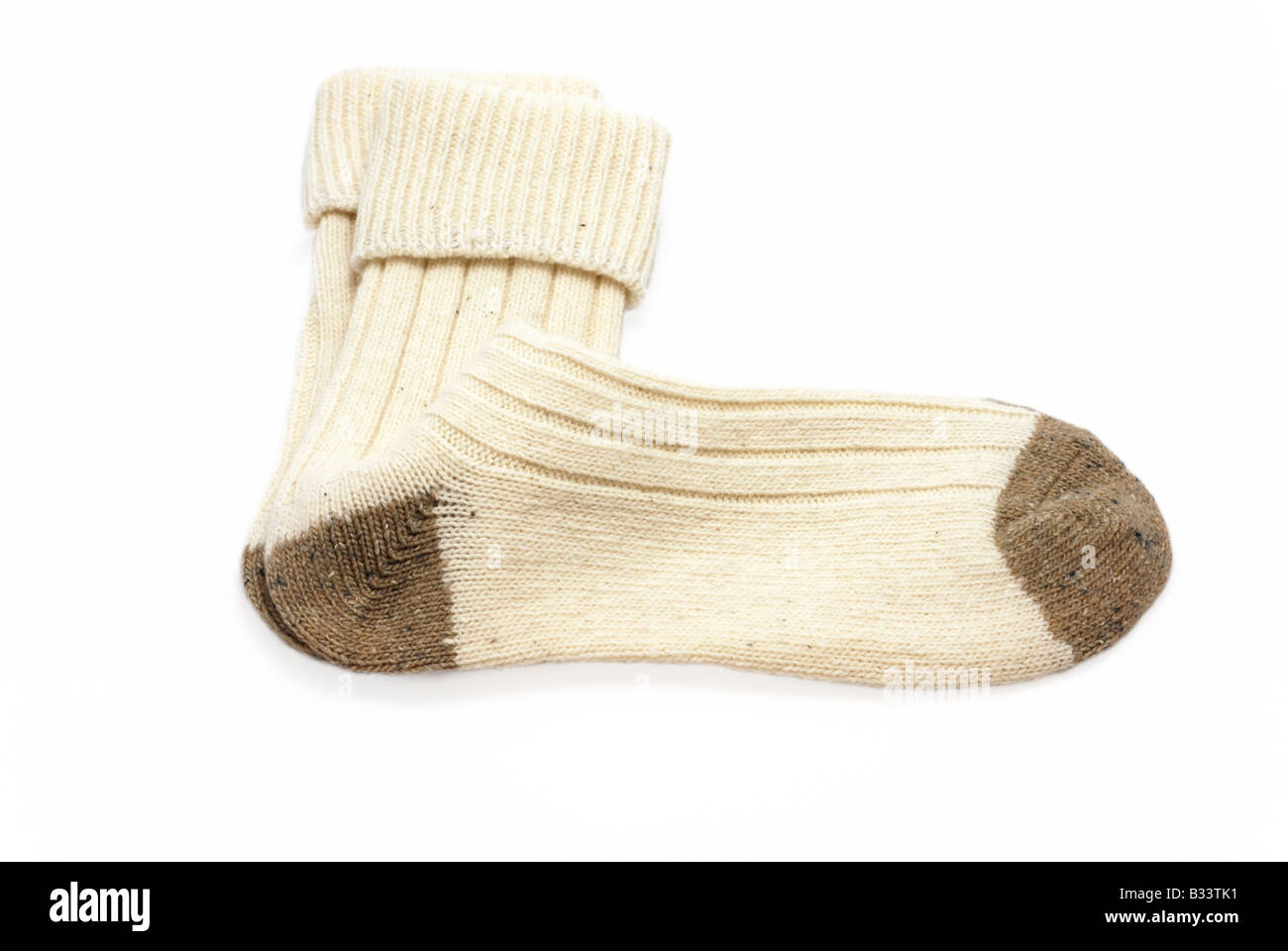 Pair of Off-white Wool Socks - Stock Image