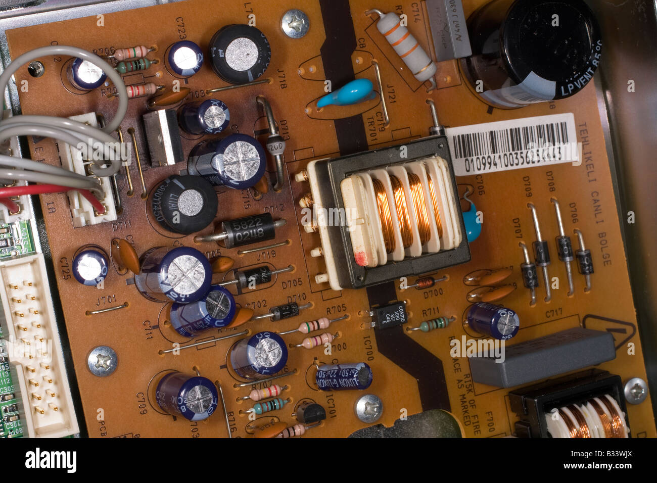electronic circuit board showing several types of component from tvelectronic circuit board showing several types of component from tv freeview box
