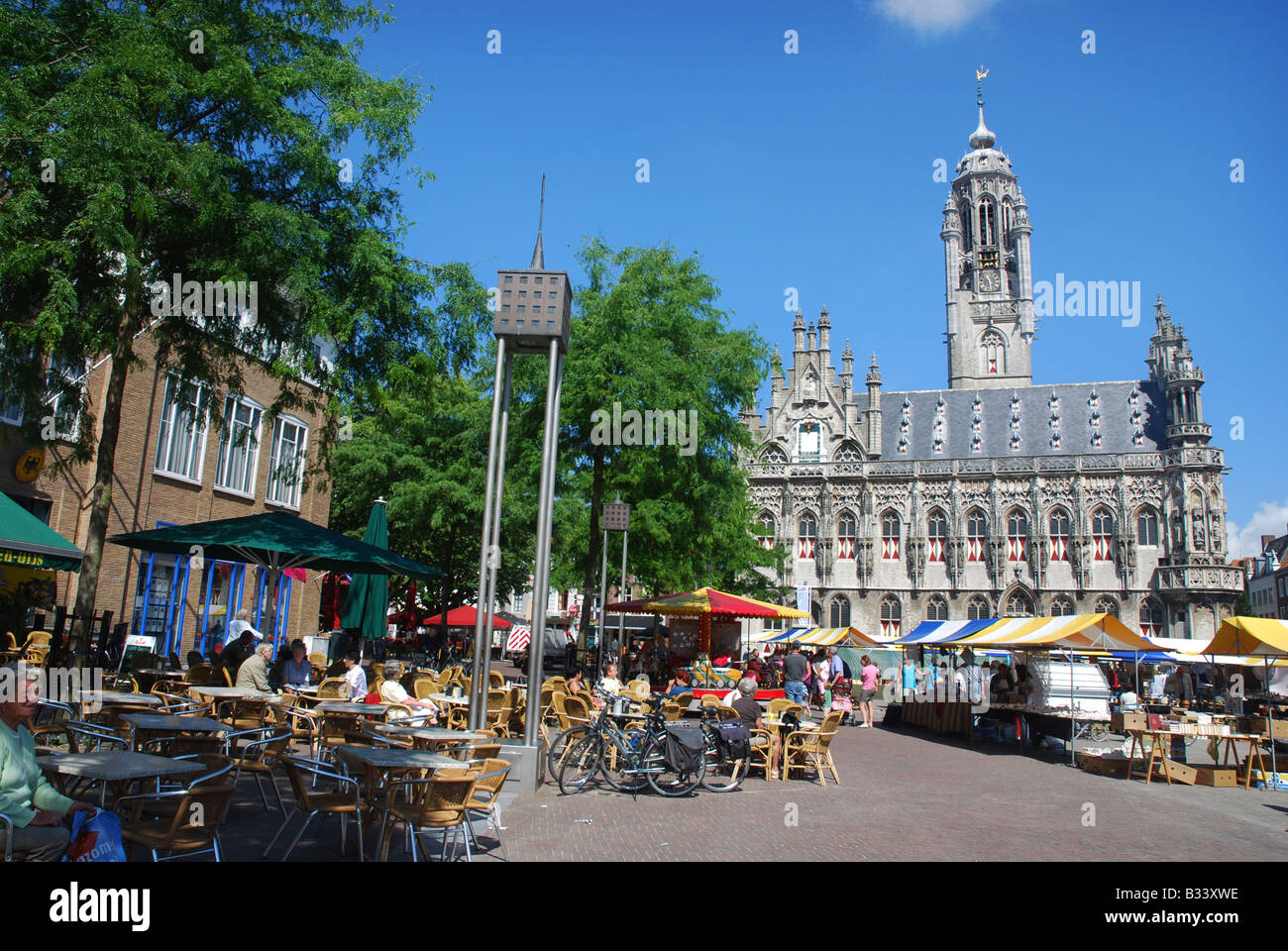 town hall and Market Square Middelburg Zeeland Netherlands Stock Photo