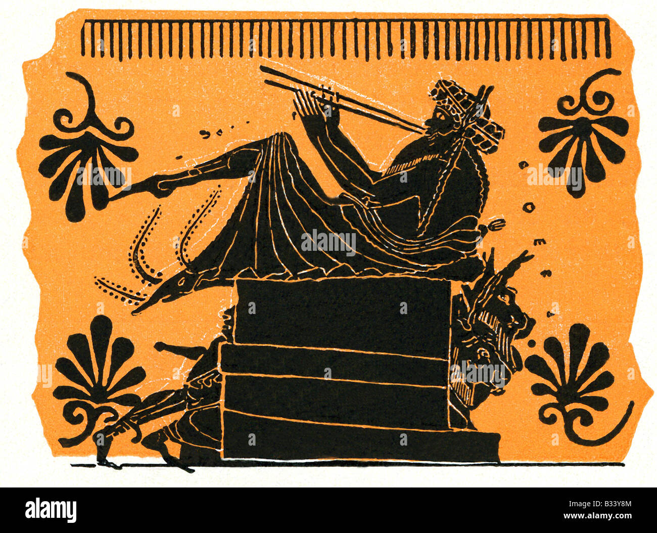 Satyr Playing Double Reed - Stock Image