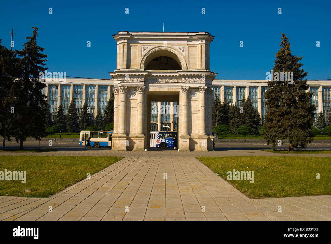 Parcul Catedralei with Arc de Triomphe in Chisinau Moldova Europe - Stock Image