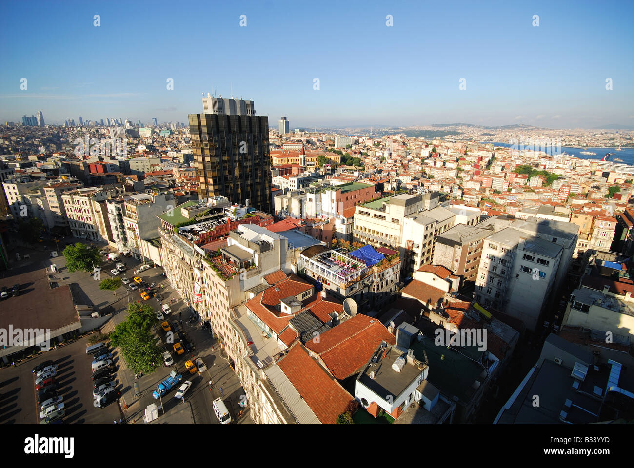 ISTANBUL, TURKEY. A bird's eye view over the Pera district of Beyoglu, with the Bosphorus in the distance. 2008. - Stock Image