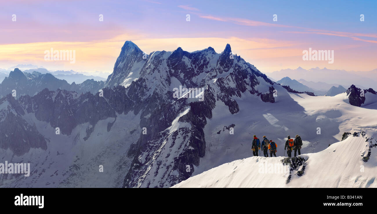 Climbers leaving Alguille du Midi for the Mont Blanc Massif, Chamonix Mont Blanc, France - Stock Image