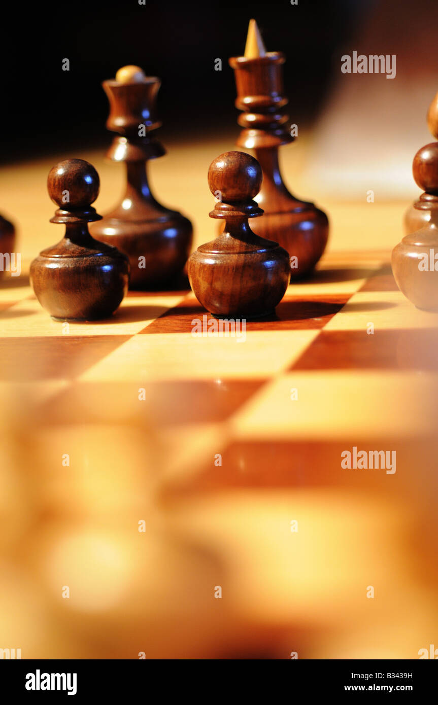 Close-up, detailed images of various chess pieces, queen, king, paws, black and white on a chessboard, resign defeat, Stock Photo