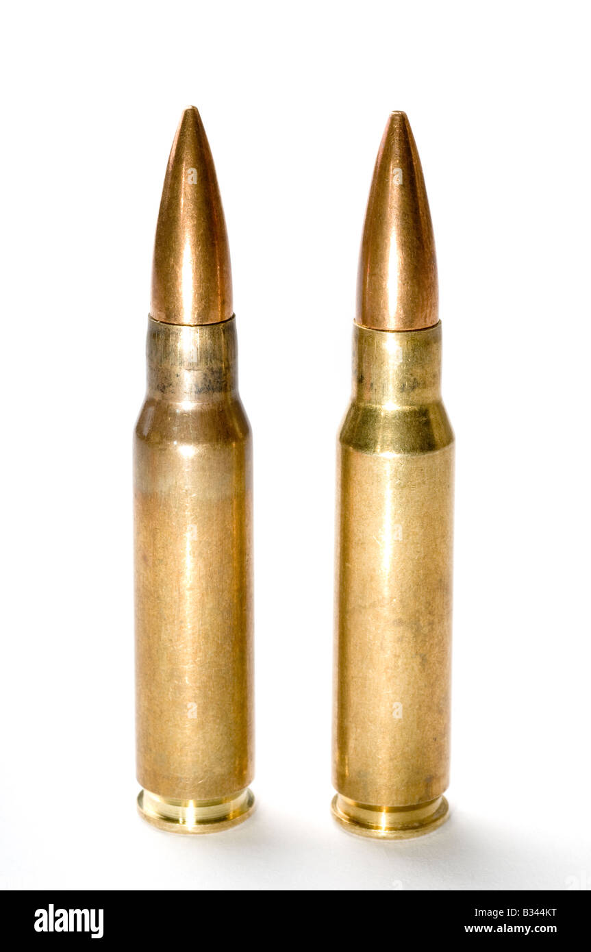 Two Winchester 308 rifle bullets - Stock Image