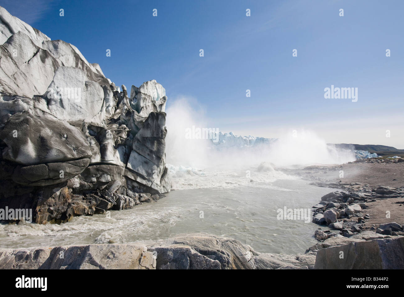 The rapidly melting Russell glacier in Greenland retreating due to climate change - Stock Image