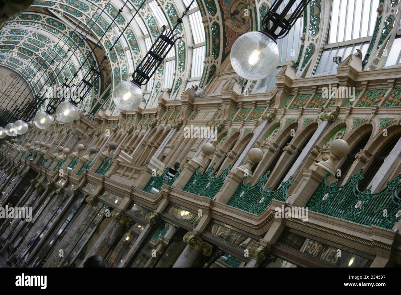 City of Leeds, England. Angled roof structure view of the Frank Matcham designed Victoria Quarter at Briggate and - Stock Image