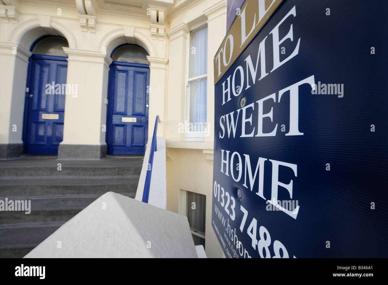 Home Sweet home: property for sale on the South Coast of England in Eastbourne. Stock Photo