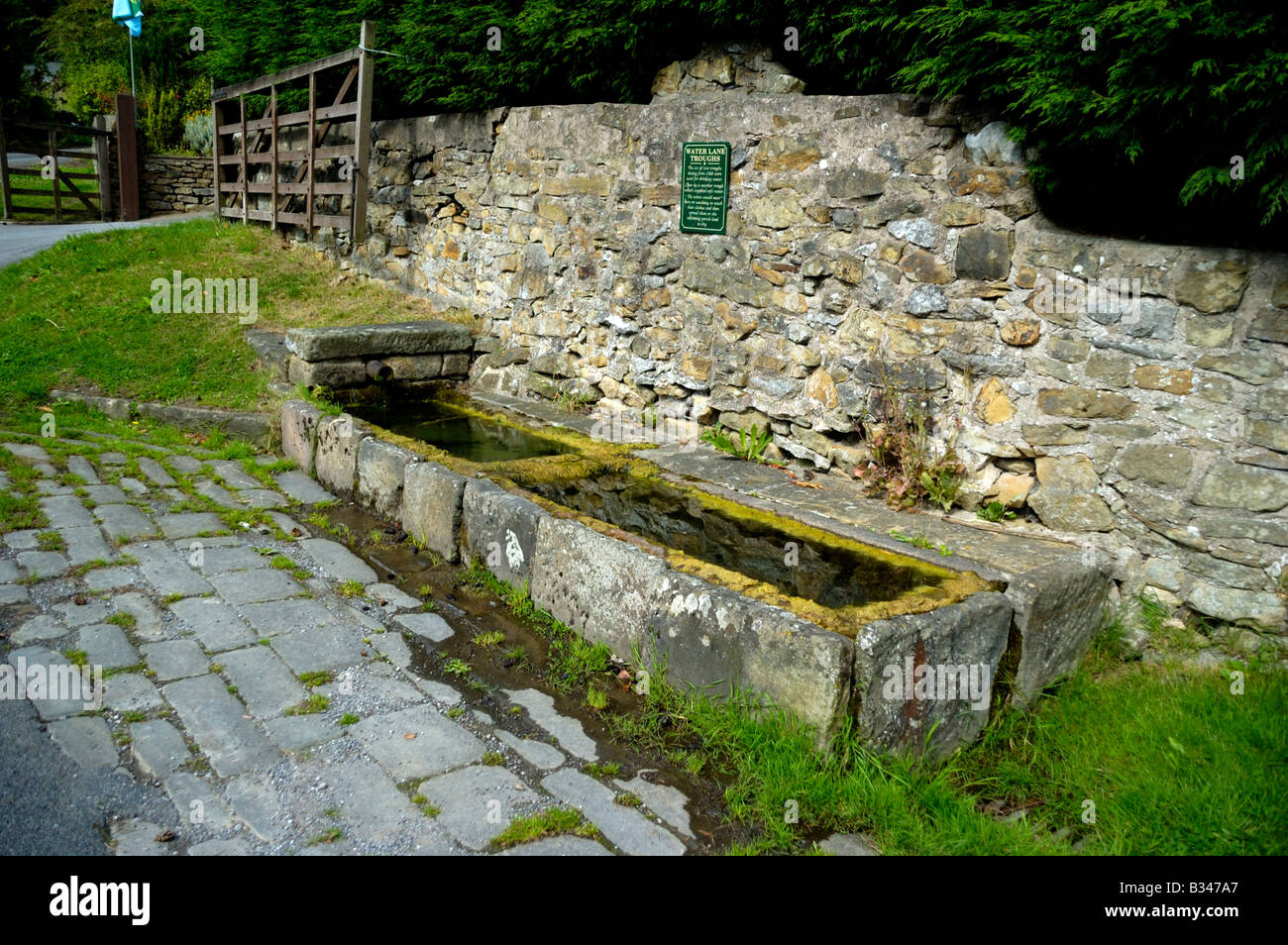 Water Lane Troughs Eyam Derbyshire England - Stock Image