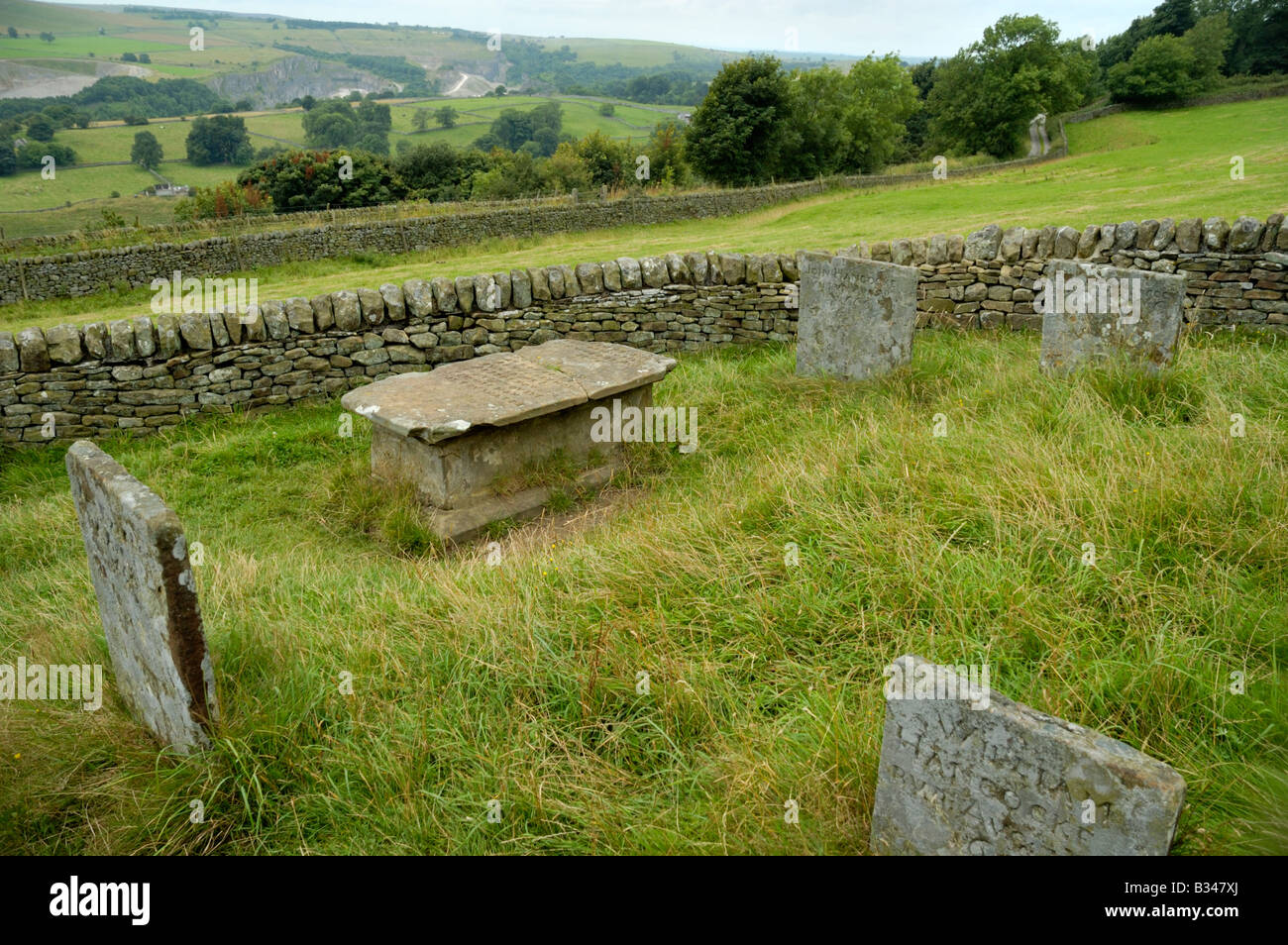 Riley Graves in Eyam England burial place of the Hancock family plague victims - Stock Image