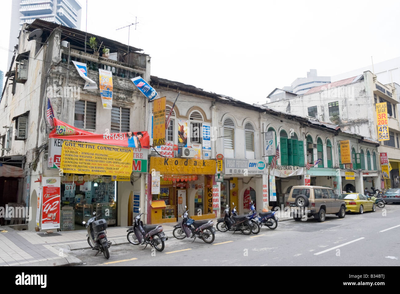 Shop houses in Chinatown, Kuala Lumpur, Malaysia. - Stock Image