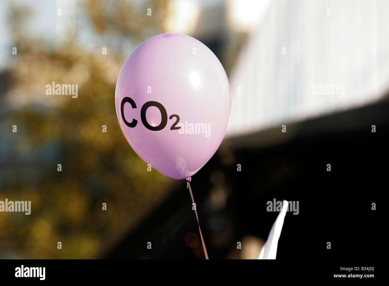 C02 balloon, I Count Stop Climate Chaos Rally Trafalgar Square London - Stock Image