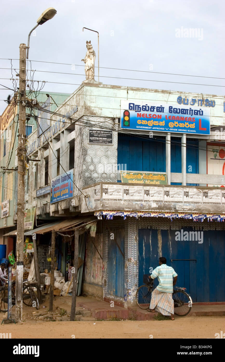 A local person shops in the town of Mannar, Sri Lanka - Stock Image