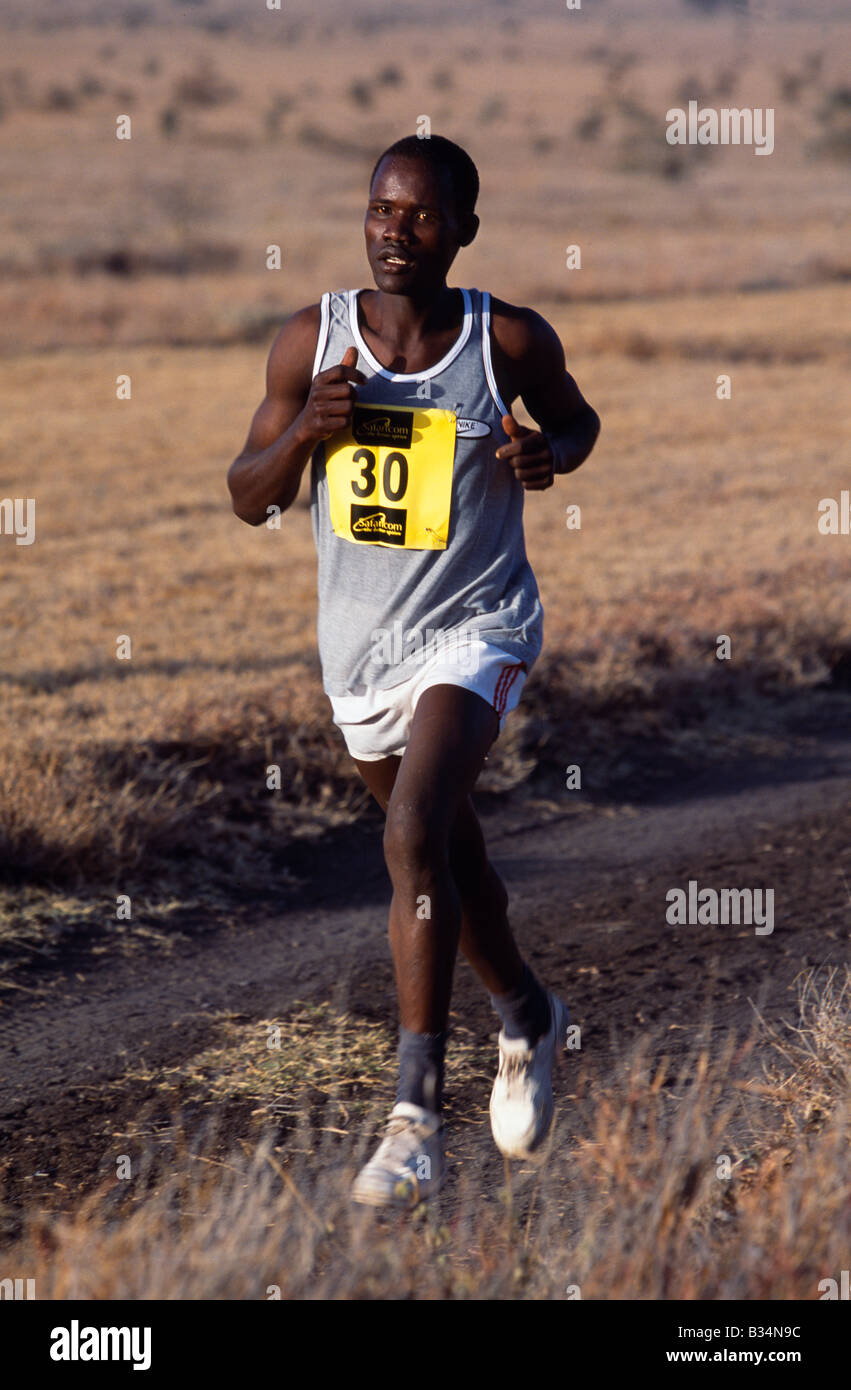 Kenya, Lewa Wildlife Conservancy, Safaricom Marathon. Out on the full Marathon course - 30 William Kimathi who completed Stock Photo