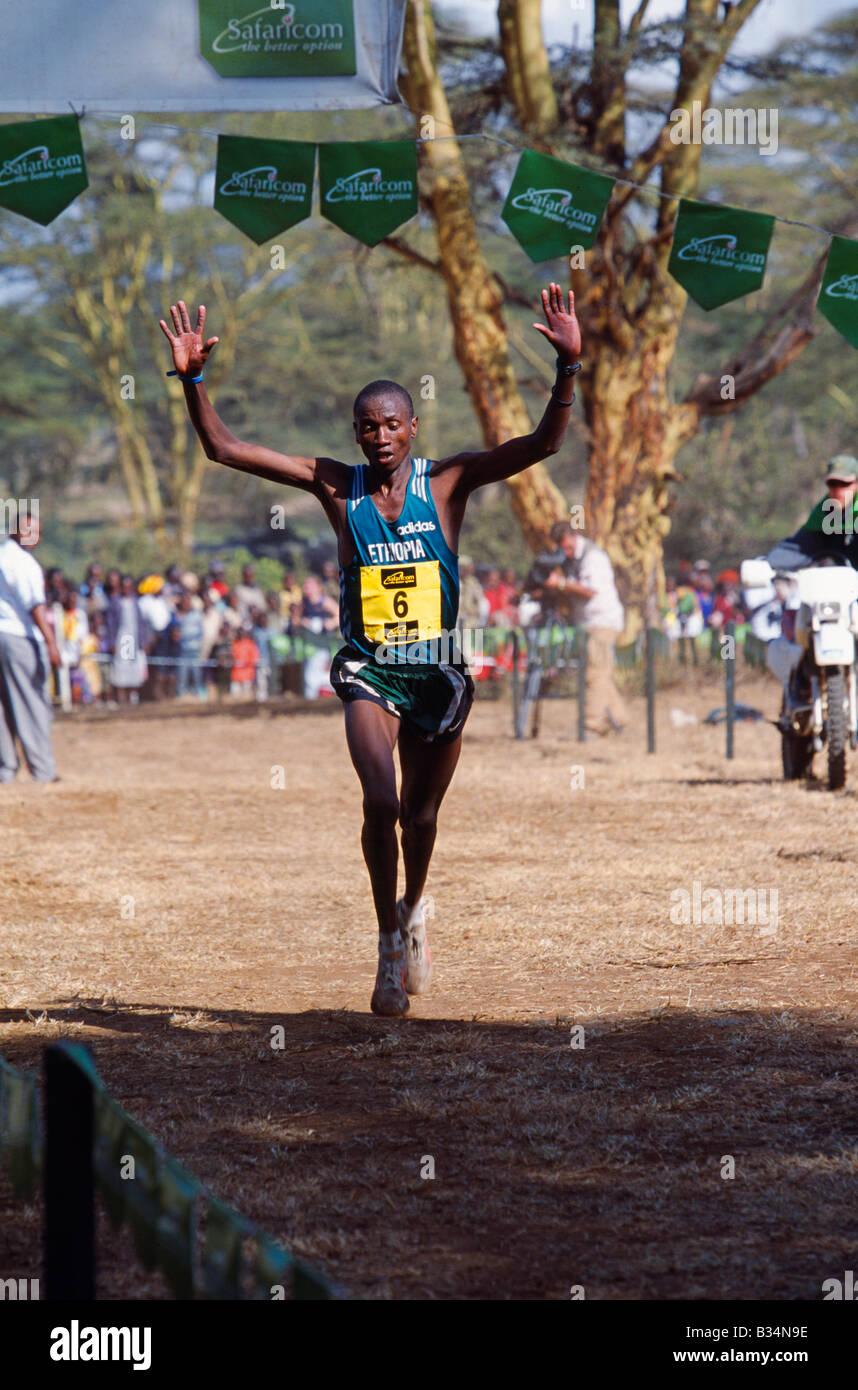 Kenya, Lewa Wildlife Conservancy, Safaricom Marathon. The winner of the Men's Full Marathon, Peter Ndegwa, no 6 Stock Photo
