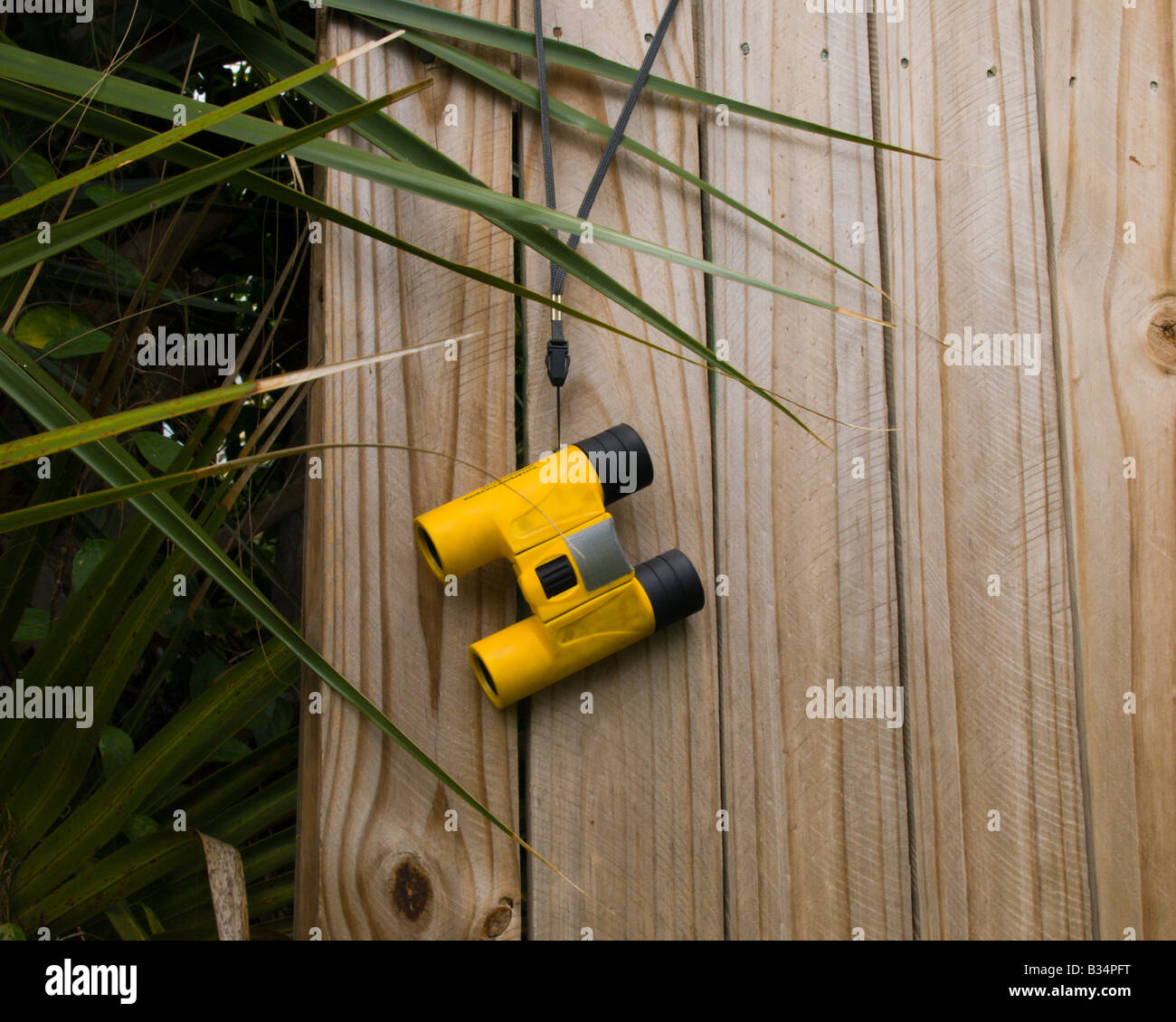 BINOCULARS ARE KEPT READY FOR INSTANT USE IN SPYING ON THE NEIGHBORS - Stock Image
