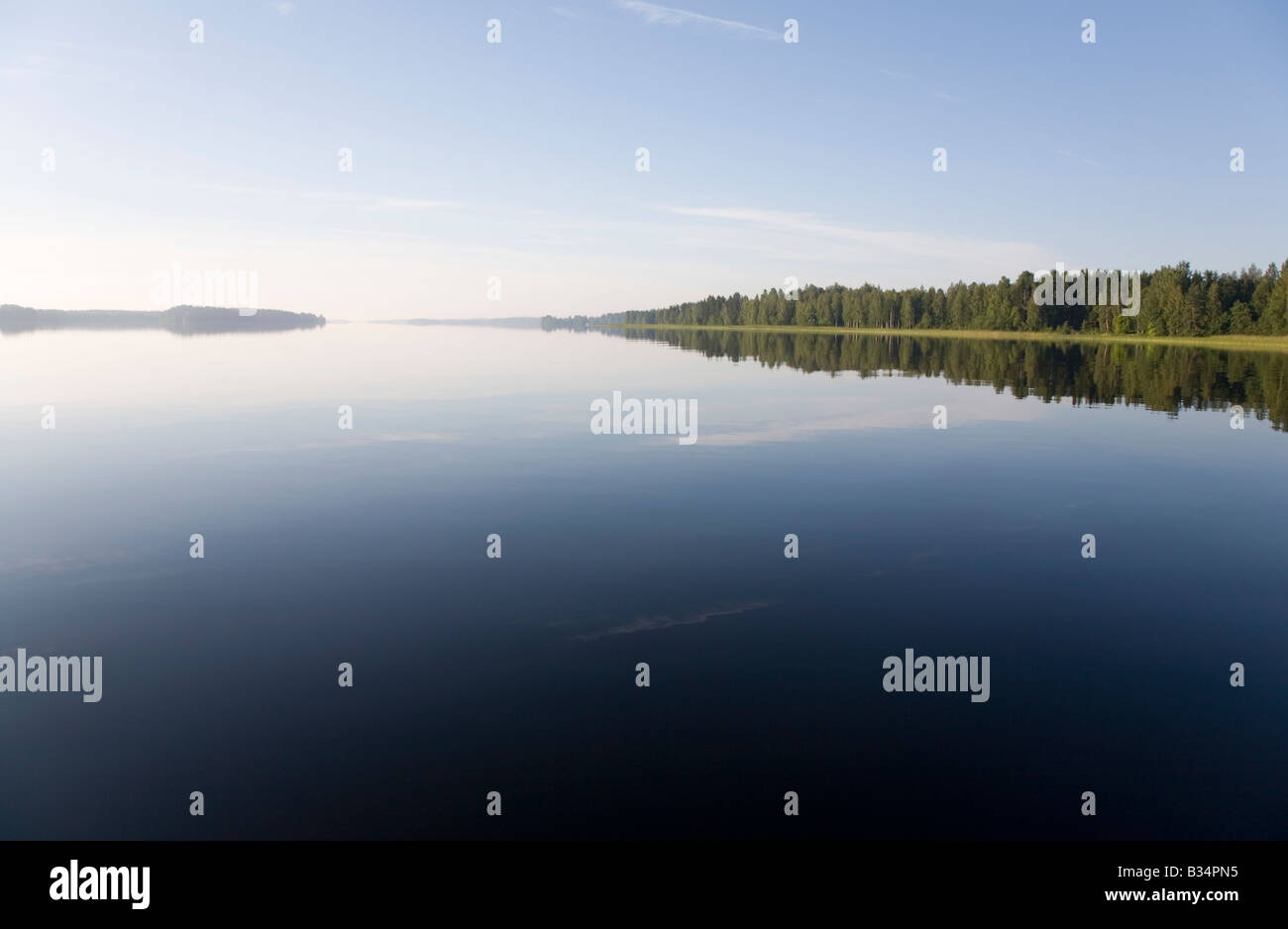 Calm surface of a Finnish lake Suontee at early morning , Finland - Stock Image