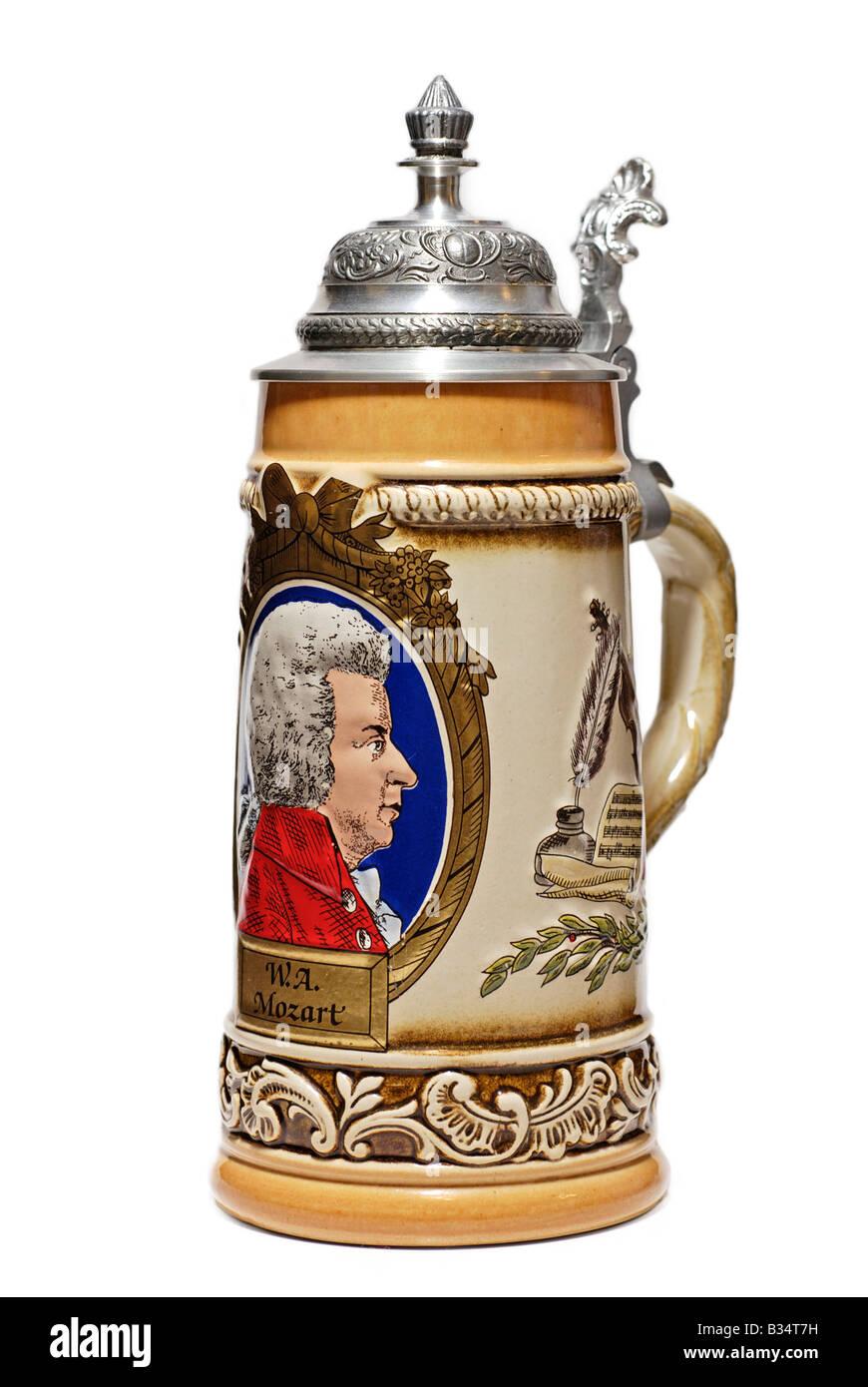 Porcelain Beer Stein, German - Stock Image
