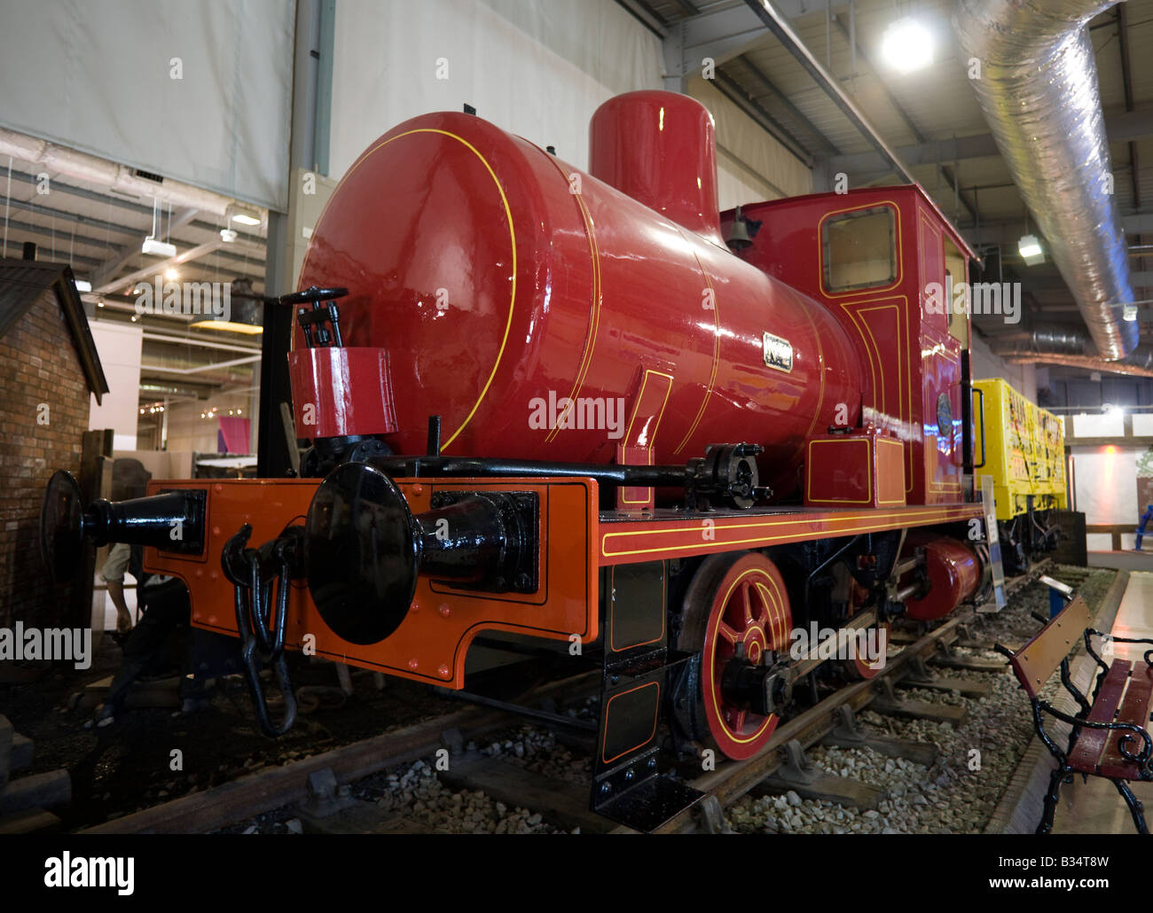 GB UK museum transport mining coal Red Barclay Fireless 0-4-0 Locomotive Loco - Stock Image