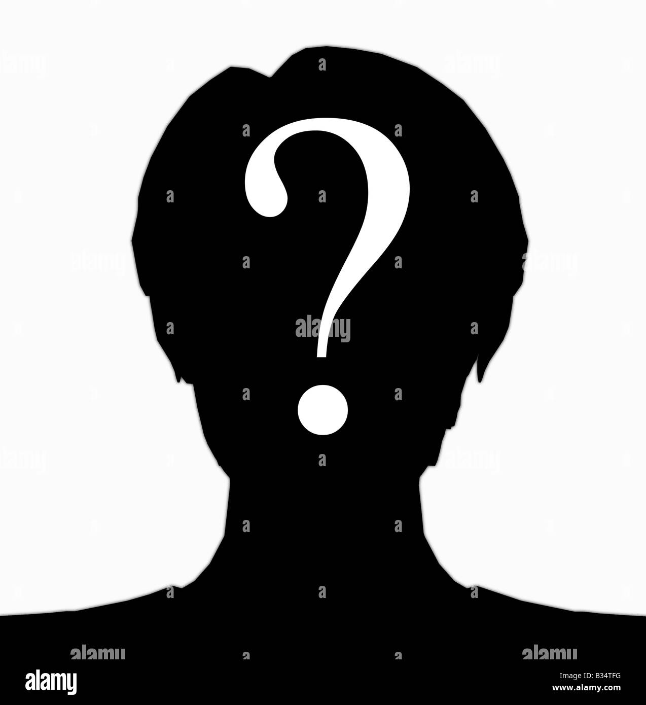 abstract silhouette of female head with question mark composited over face - Stock Image