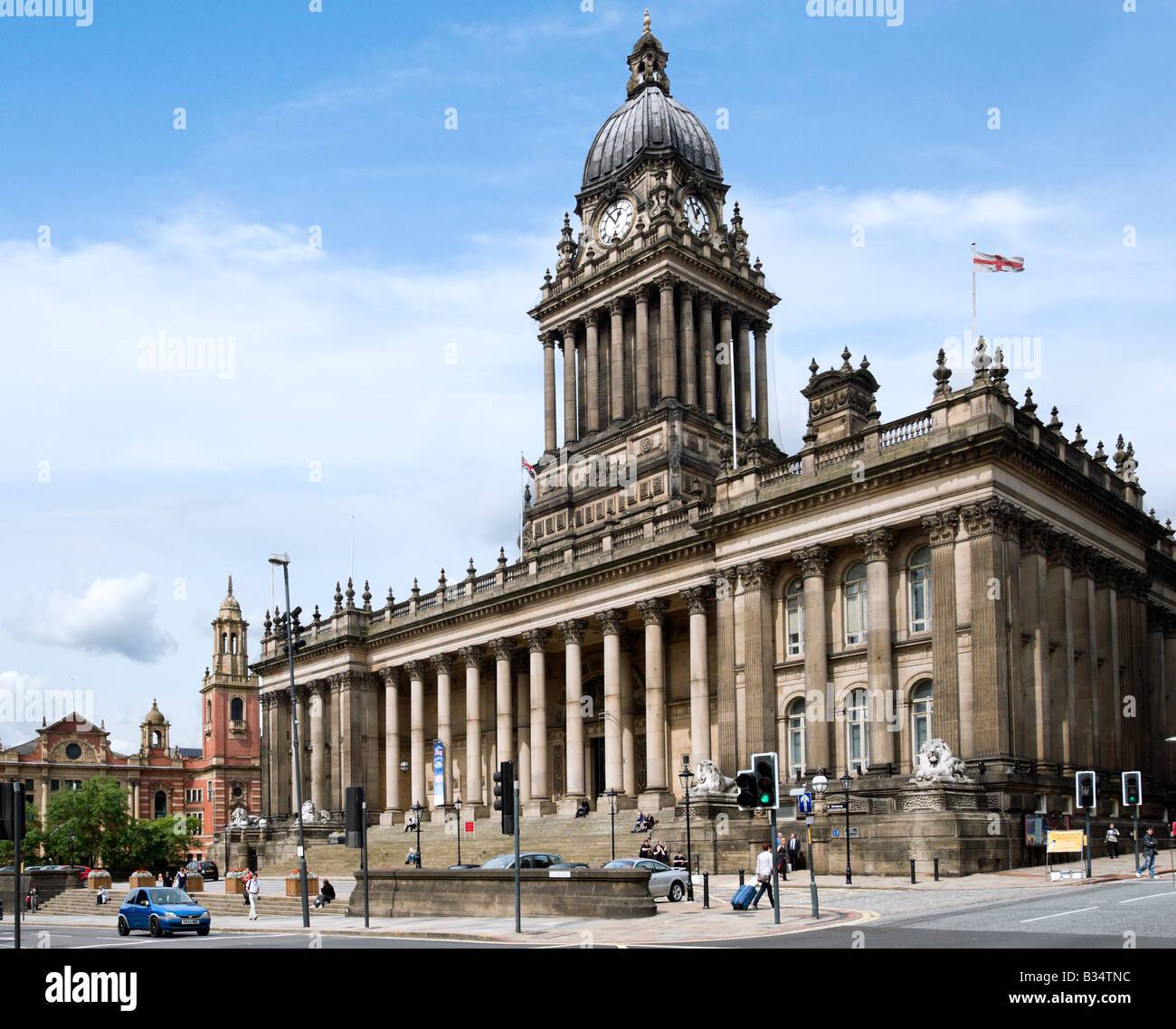 Leeds Town Hall (designed by the local architect Cuthbert Brodrick), Leeds, West Yorkshire, England - Stock Image